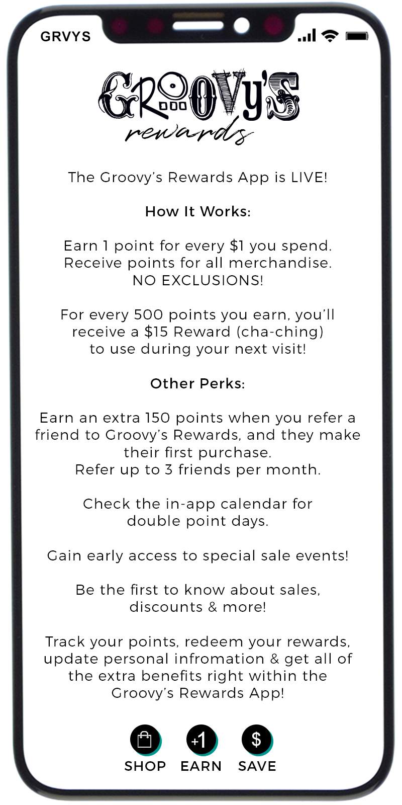 Groovy's Rewards App Details