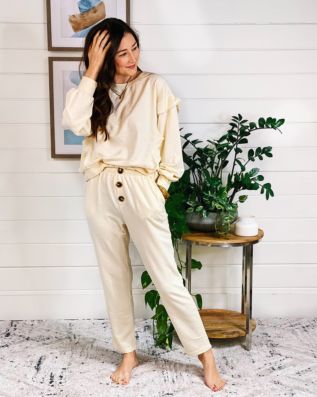 Ruffle Z SUPPLY pullover in ivory and button, paperbag waist joggers in ivory