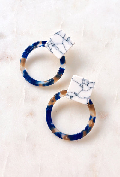 Aleah Resin Hoop Earrings in Blue