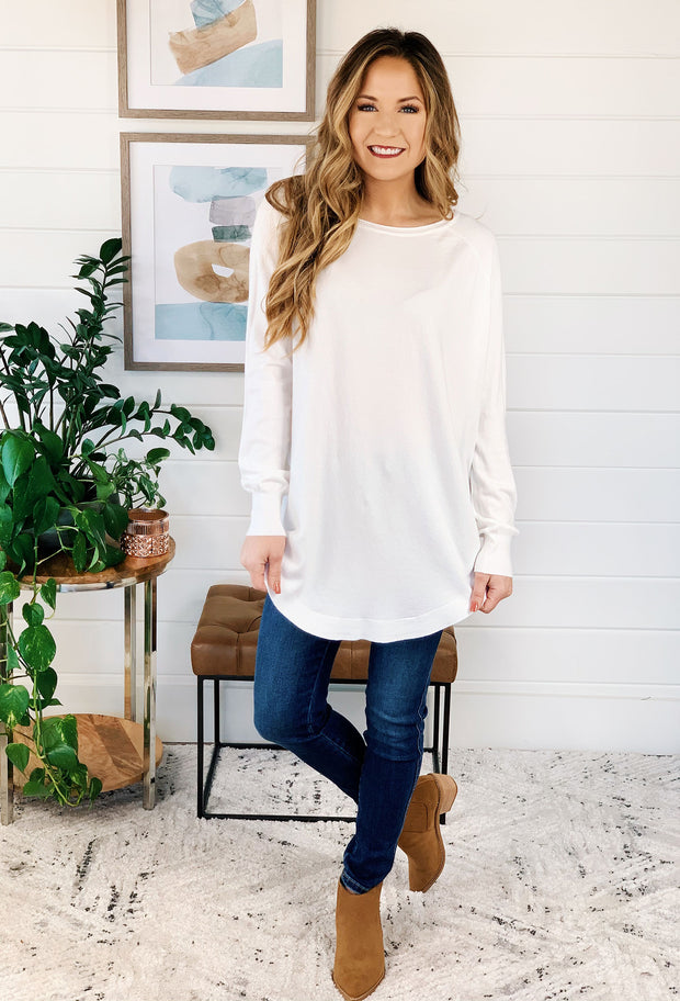 Alena Sweater by Dreamers in Off White, white soft sweater with round hem