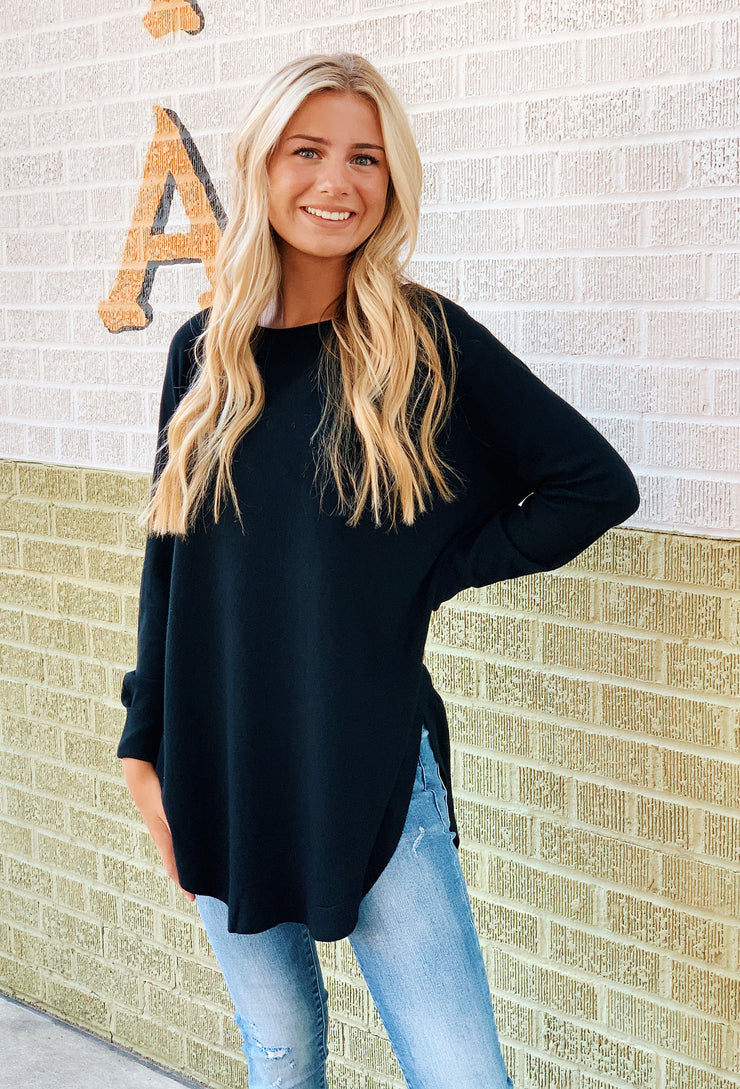 Alena Sweater in Black, black long sweater with side slit