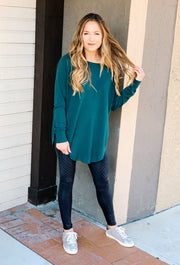 Alena Sweater in Juniper, long green sweater with side slit