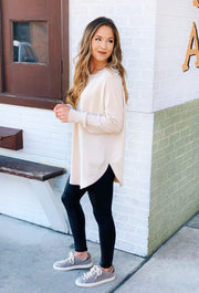 Alena Sweater in Oatmeal, light cream long sweater with side slit
