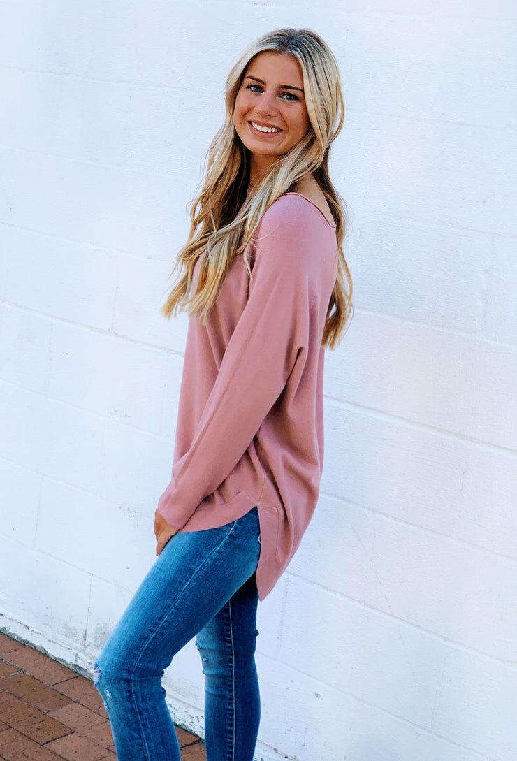 Alena Sweater in Soft Pink, light pink long sweater with side slit