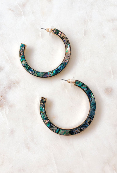 Alli Abalone Shell Hoop Earrings