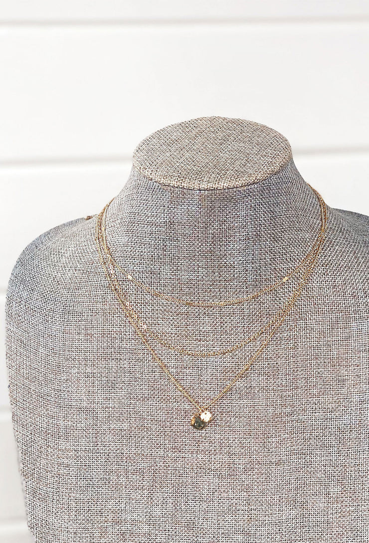 Amaya Layered Necklace, 3 strand gold necklace with 2 coin pendants on the longest strand
