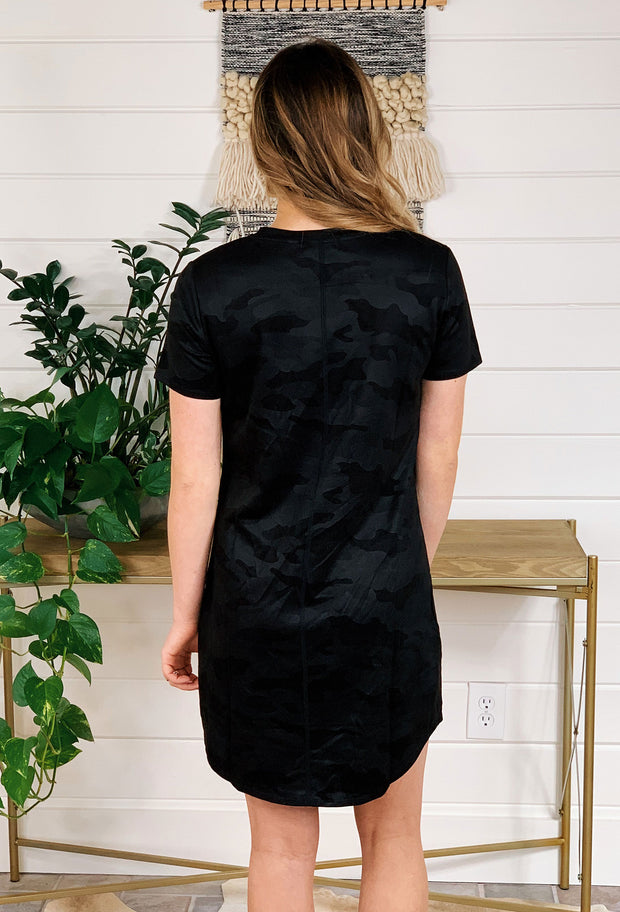 Another Love Black Camo Cassidy Dress, black faux suede Camo t-shirt dress with front pocket