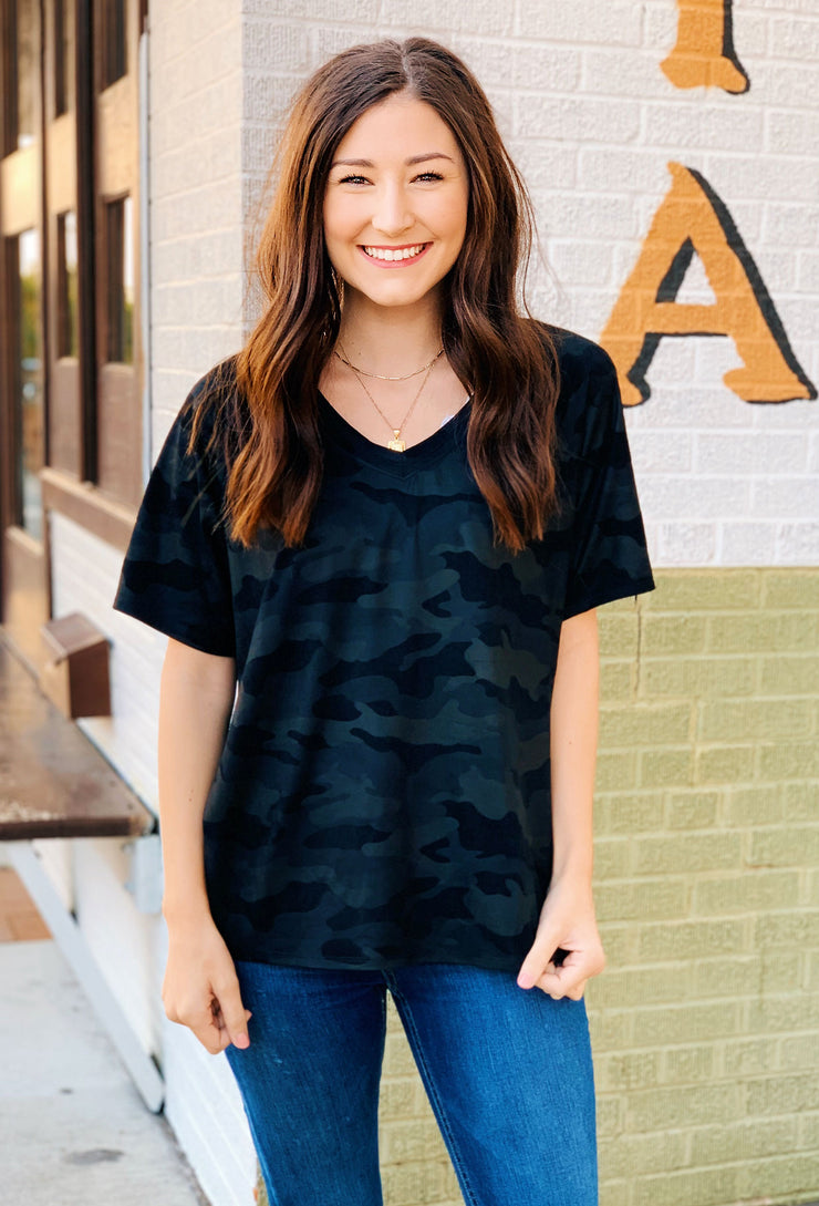 Another Love Black Camo Taylor Top, faux suede textured Camo tee
