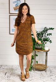 Another Love Camel Camo Cassidy Dress. camel suede Camo v neck dress with front pocket