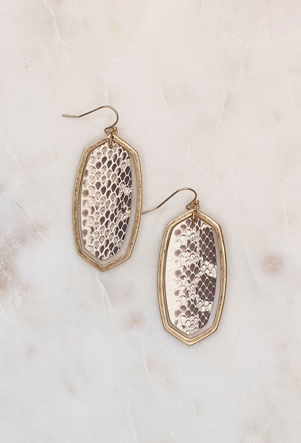 Apalone Drop Earrings in Snakeskin Leather, gold oval hollow earrings with stamped out snakeskin leather insert - Kendra scott dupe