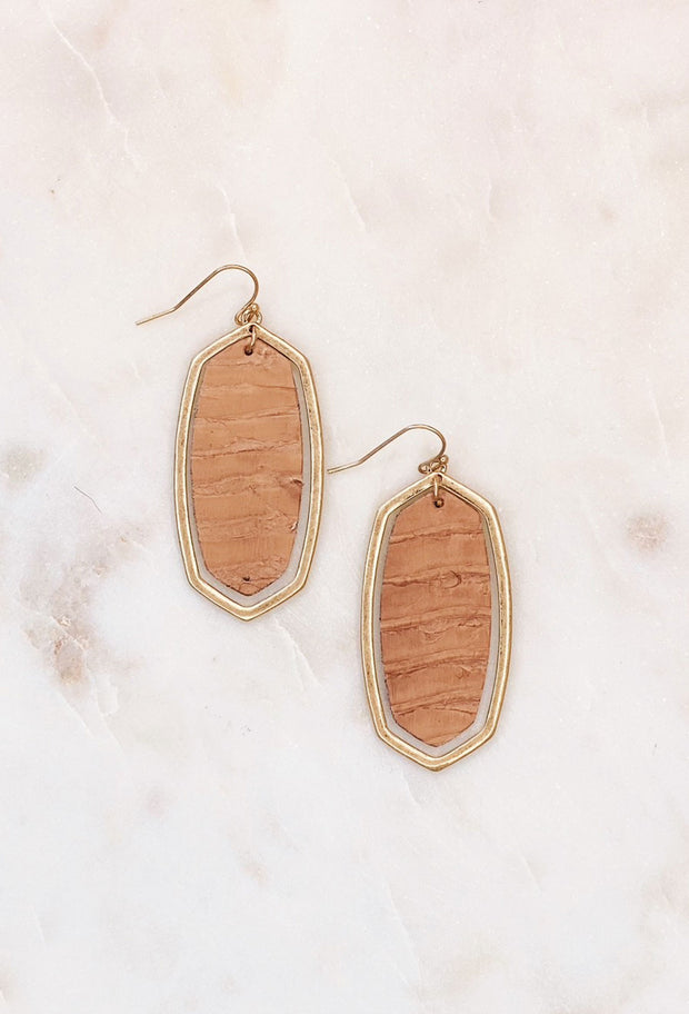 Apalone Drop Earrings in Tan Leather, gold oval hollow earrings with stamped out tan snakeskin leather insert - Kendra scott dupe