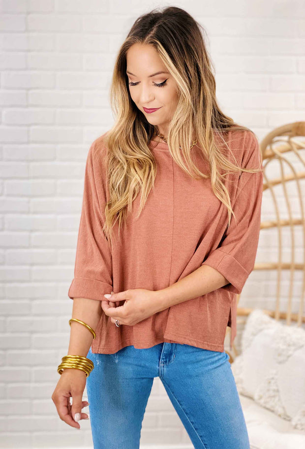 Apricot Dolman Top, burnt peach 3/4 length sleeve dolman top with cuffed tacked sleeves