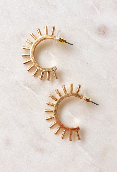 Athena Gold Spiked Hoops