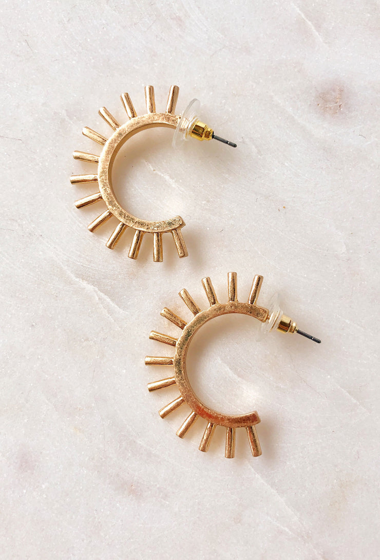 Athena Gold Spiked Hoops, hoops with gold spikes
