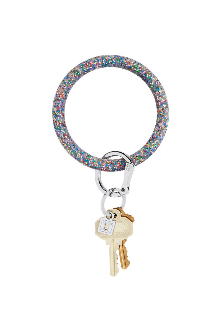O-Venture Silicone Key Ring in Rainbow Confetti, rainbow glitter key ring