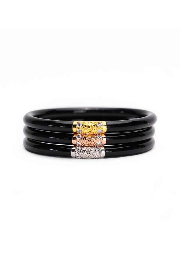 BUDHAGIRL Three Kings All Weather Bangles in Black, black all weather bangles