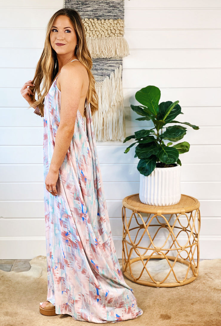 Beach Gypsy Maxi Dress, flowy maxi dress by love stitch with a draped back and watercolor aztec print