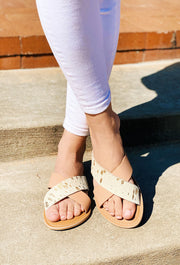 Beach by Matisse Pebble Sandal in Gold Spot, criss cross flat sandals with gold spot cow hair and genuine leather