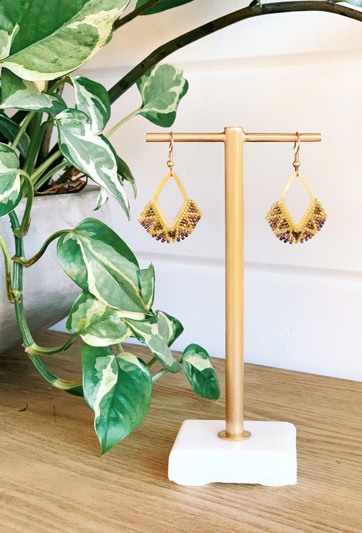 Beaded Drop Earrings in Citron, gold dangle drop diamond earrings with yellow, citron and purple beaded detailing