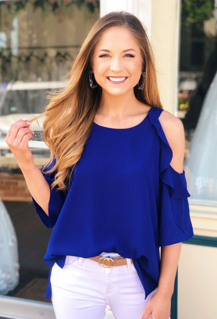 Bella Cold Shoulder Top in Cobalt