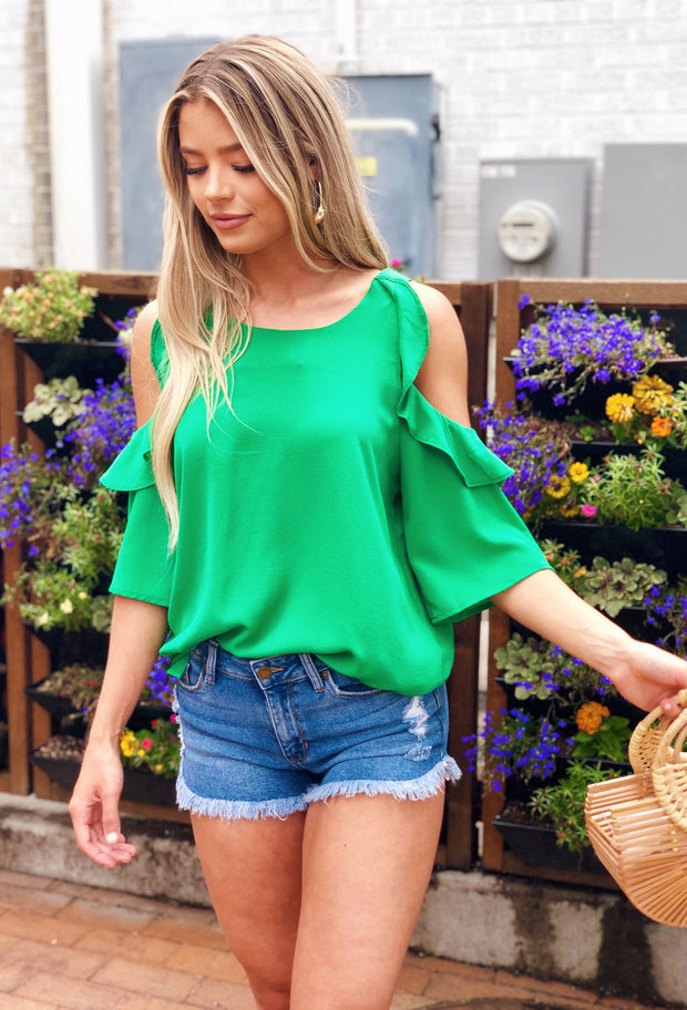 Bella Cold Shoulder Top in Green