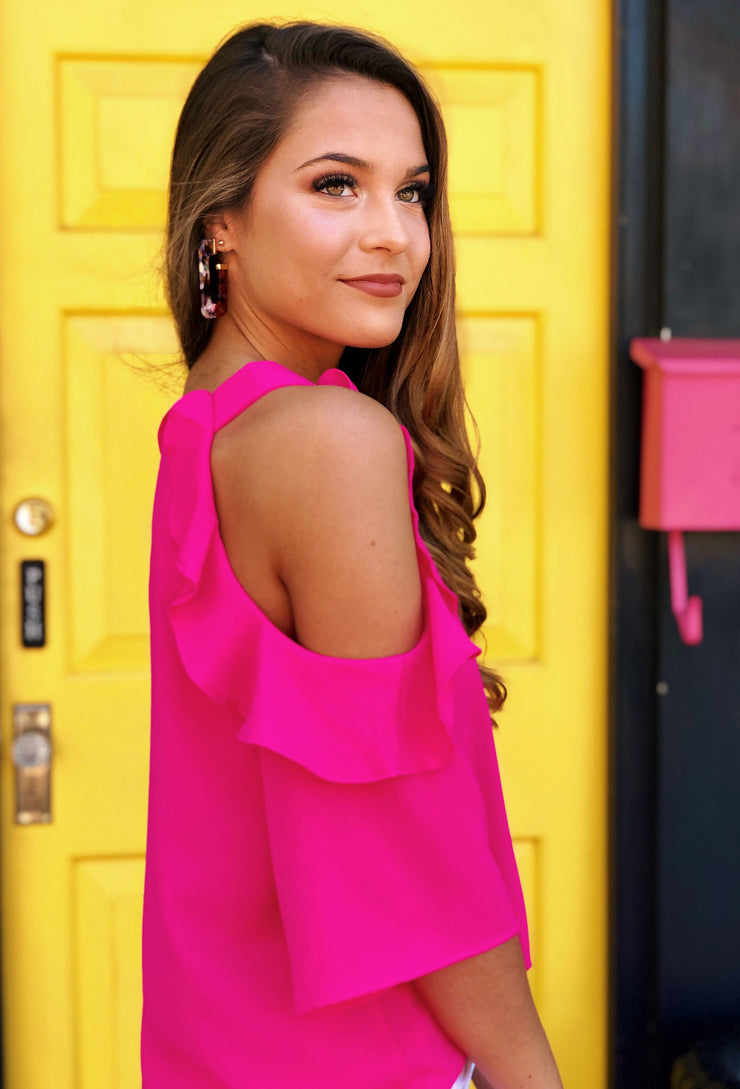 Bella Cold Shoulder Top in Hot Pink