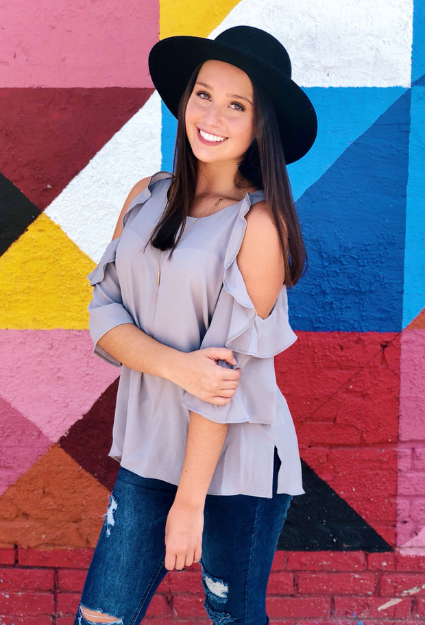 Bella Cold Shoulder Top in Light Gray