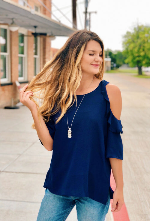 Bella Cold Shoulder Top in Navy by Umgee