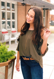 Bella Cold Shoulder Top in Olive Green