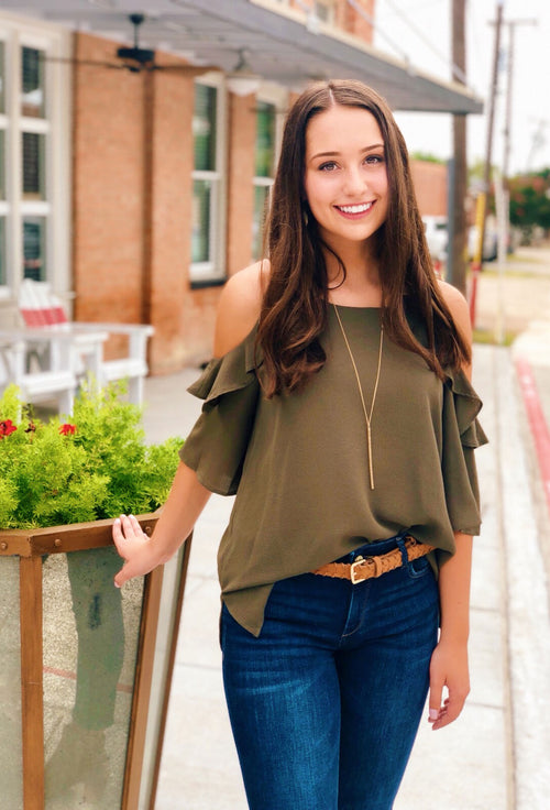 Bella Cold Shoulder Top in Olive Green by umgee