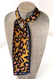 Betty Cheetah Print Scarf Tie, yellow cheetah print neck tie with blue trim