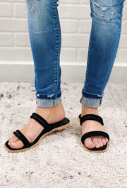 Black Aurora Double Strap Sandals, black scrappy slip on sandals with square toe