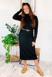 Black Belted Turtleneck Sweater Dress, black long sleeve knit turtleneck midi dress with detachable belt