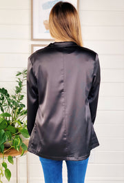 Black Boyfriend Blazer, black satin blazer with front pockets