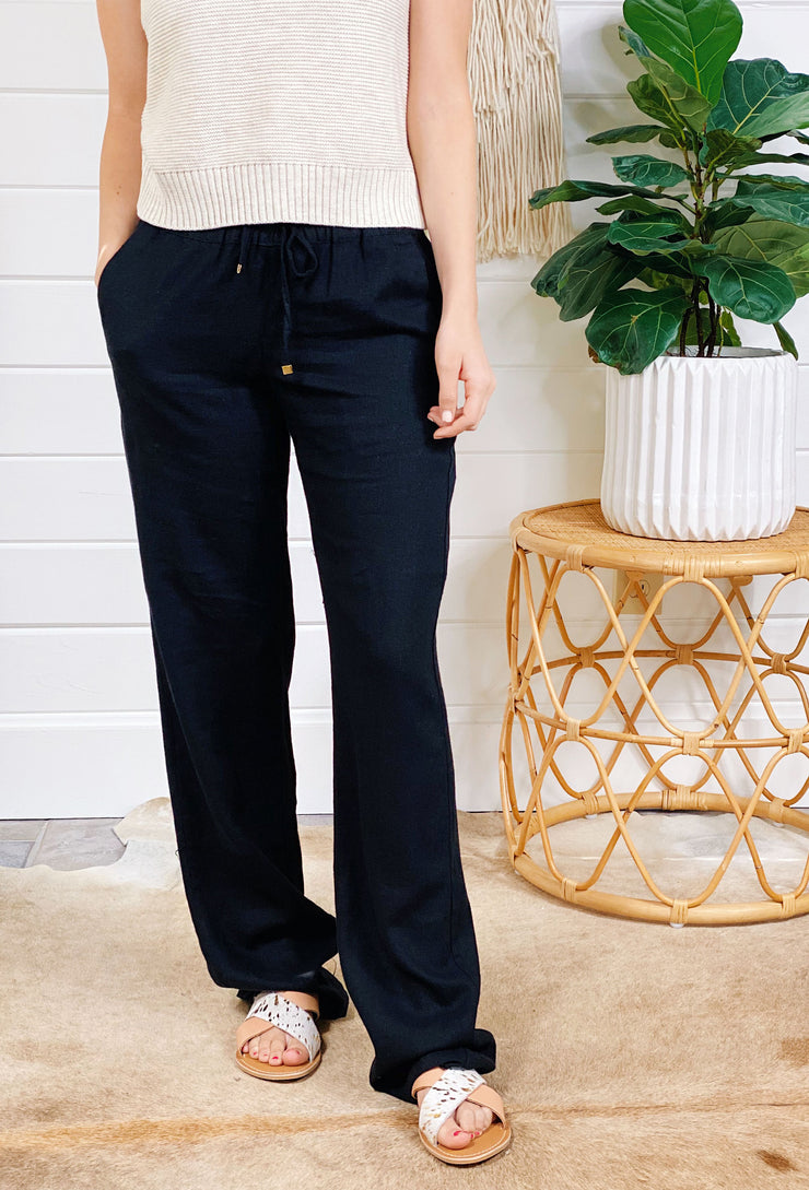 Black Linen Pant with drawstring waist