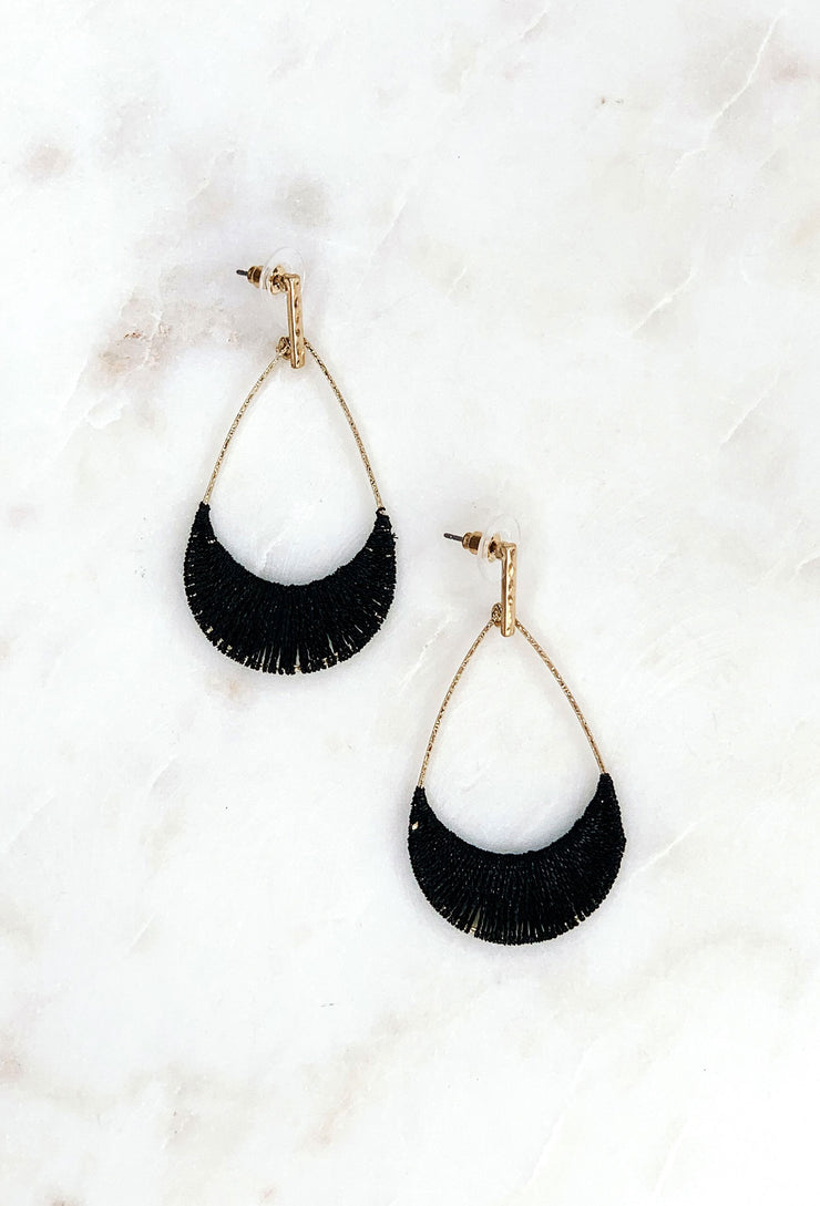 Tearney Earrings in Black, black threaded tear drop hoops