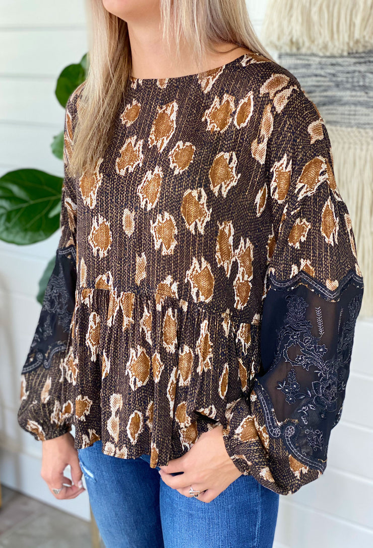 Black Metallic Leopard Blouse, brown leopard blouse with gold thread and statement sleeves