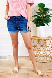 Blaise Cuffed Denim Shorts, dark wash cuffed denim shorts