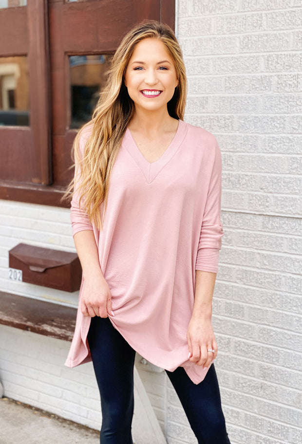 Blush Oversized Asher Top, oversized v neck pink top