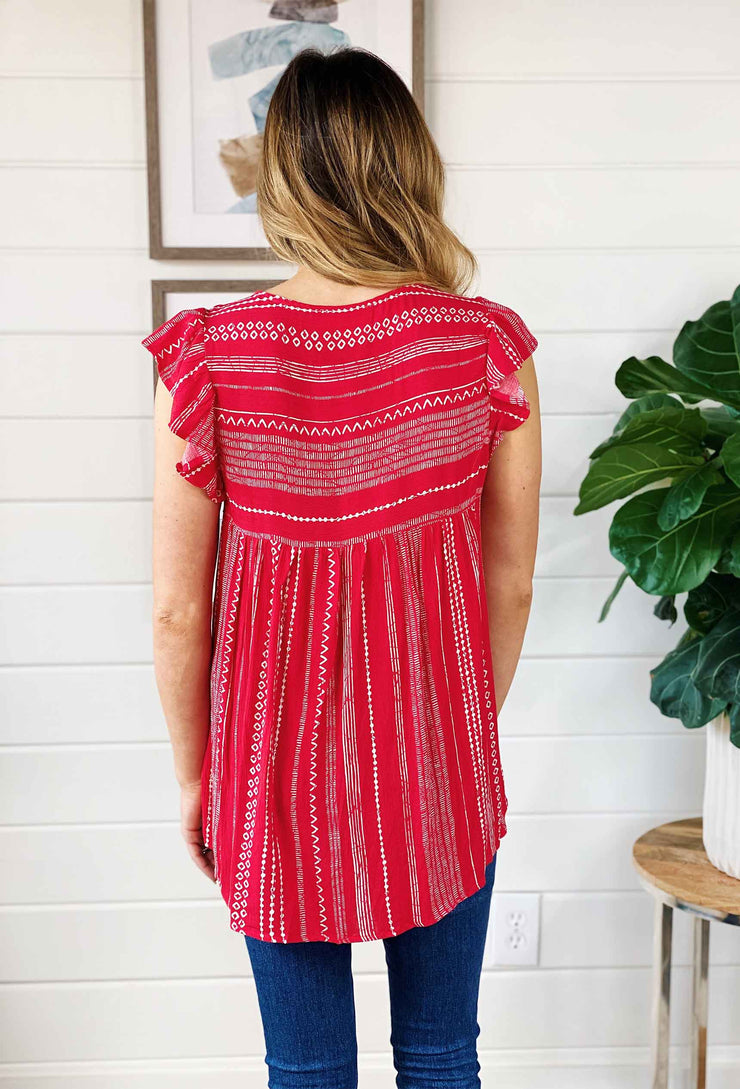 Boheme Flower Embroidered Top, red striped blouse with floral embroidery on the front