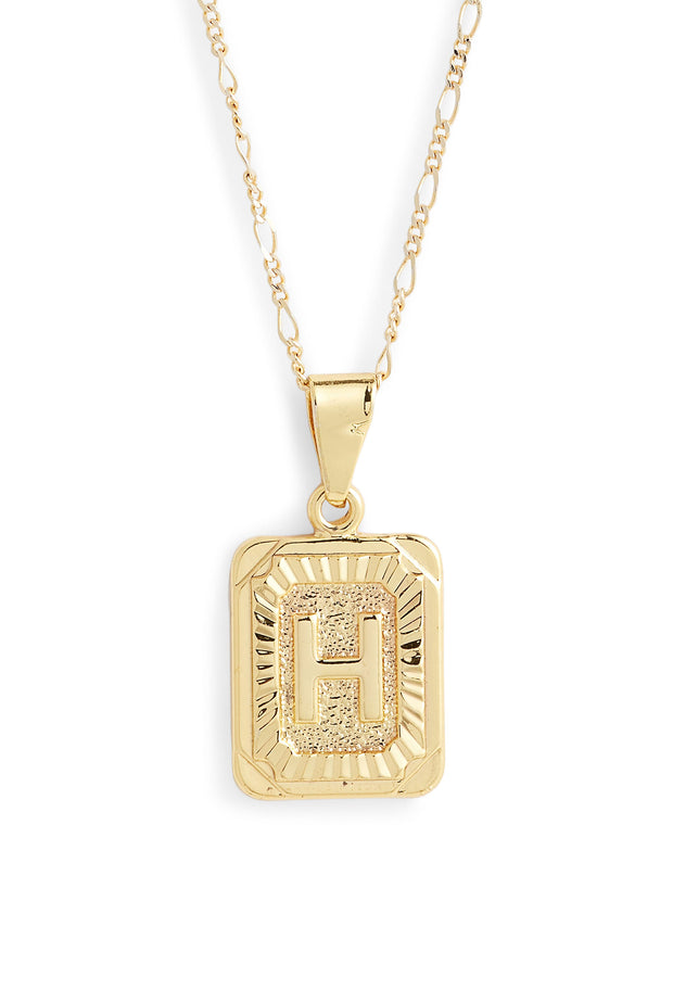 Bracha Initial Necklace, gold card initial necklace