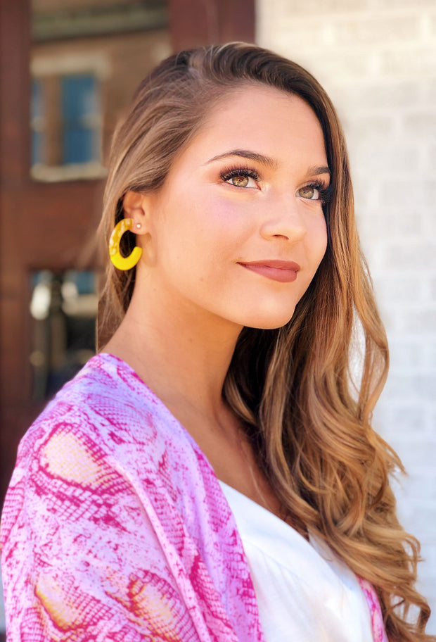 Brielle Yellow Resin Hoop Earrings