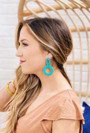 Bright Matte Finish Drop Earrings, soft matte bright colored dangle earrings