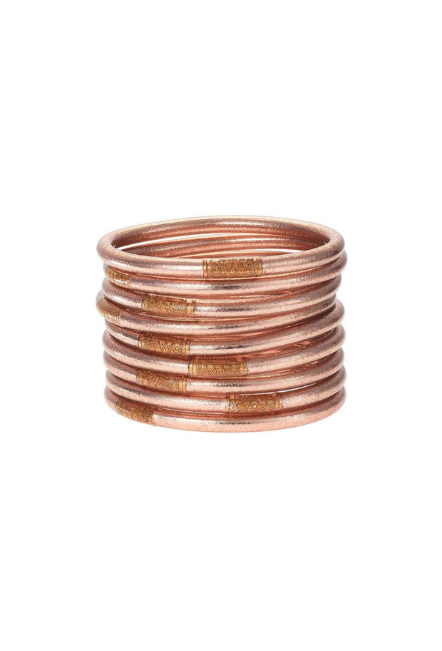 Set of 9 Rose Gold Budhagirl All Weather Bangles