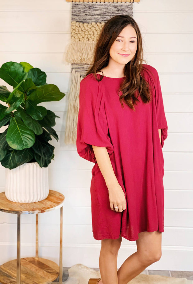 Burgundy Balloon Sleeve Dress, red 3/4 balloon sleeve shift dress that hits at the knee