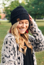 C.C. Beanie Knit Beanie Hat in Black