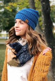 C.C. Beanie Knit Beanie Hat in Denim Blue