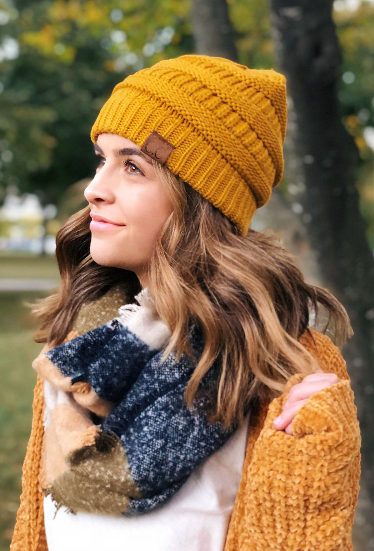 C.C. Beanie Knit Beanie Hat in Mustard – Groovy s 1e1d20daed9