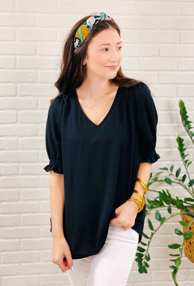 Callie Ruffle Sleeve Tee in Black, black puff sleeve blouse with ruffle sleeve