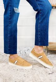 Camel & Leopard Marcus Sneaker, camel suede slip on sneakers with leopard and twine detailing
